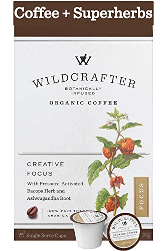 Wildcrafter Botanicals Organic Coffee K Cups - Natural Focus & Creative Brain Booster Infused with Ashwagandha & Bacopa Herbal Blend. 12 Dark Roast Nootropic Pods - Works with K-Cup Brewers & Keurig 2.0
