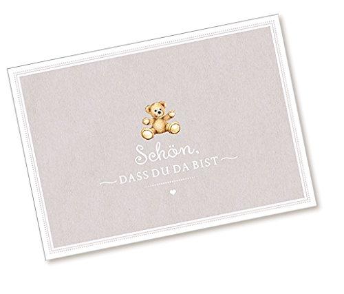 1 Postkarte Babykarte Glückwunschkarte zur Geburt mit TEDDY IN BEIGE •