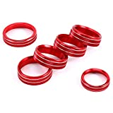 BA-BOLING 6PCS Air Conditioner Switch Cover Trim Kit for Ford F150 XLT 2016 2017 2018 2019 2020 Aluminum Alloy Car Interior Button Cover & Audio &Trailer & 4WD Knob Decorative Ring (Red)