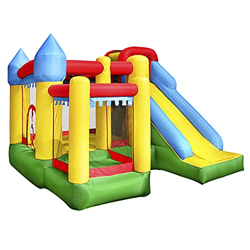 Inflatable Bounce House Castle Bouncer - Indoor/Outdoor Portable Jumping Bounce Castle w/ Slide,...