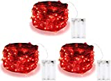 3 Pack Red Battery Operated String Lights,...
