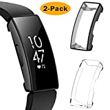 EZCO 2-Pack Screen Protector Case Compatible with Fitbit Inspire HR/Inspire, Full Coverage Soft TPU Case Protective Screen Cover Bumper Shell for Inspire HR Smartwatch