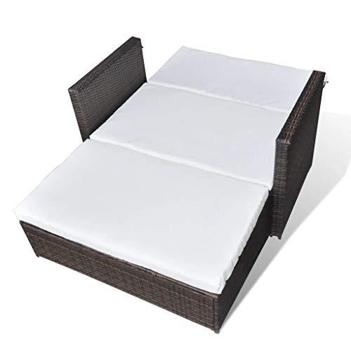 3 in1 Poly Rattan Braun Lounge Gartensofa Gartengarnitur, Rattan-Lounge, Indoor & Outdoor, 2er Garten-Sofa inkl. Kissen & Auflagen,Sofa-Set Garnitur Gartenmöbel Couch-Set - 7
