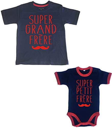 Edward Sinclair 3-4 Years Super Grand Frère 3-6 Months Super Petite Frère Navy t-Shirt and Navy and Red Trim Bodysuit Red Print