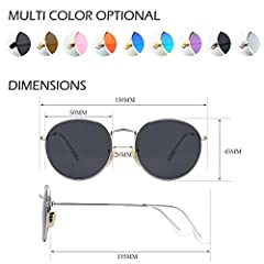GQUEEN Retro Round Circle Sunglasses Polarised Gold Brown, Vintage Oval Metal Frame Mirrored UV400, MFF7 #4