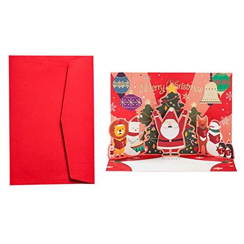 MIAOJI Tarjeta de felicitación, Tarjetas 3D Feliz Navidad Origami Postales de Papel Tarjetas de felicitación de Regalo-Rojo