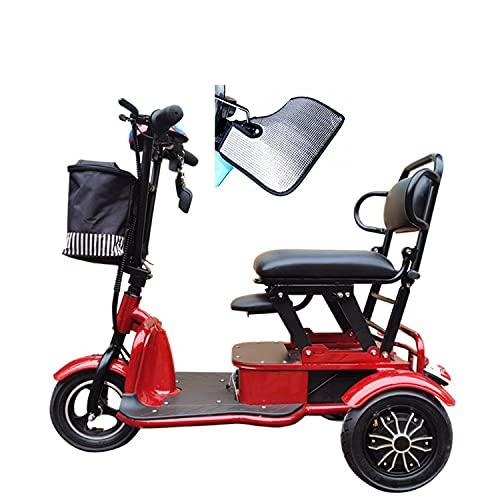 JHKGY Scooter Eléctrico Plegable De 3 Ruedas,Dispositivo De Silla De Ruedas Móvil Eléctrico Scooter Eléctrico De Viaje Plegable con Asiento,para Adultos Mayores Discapacitados Discapacitados,Rojo