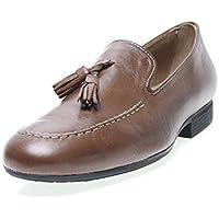 Zapatos Pitillos 833 - Mocasín Piel Borlas Camel, Color Camel, Talla 43