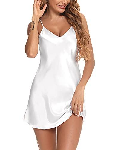 N\B Babydoll Camicie Notte Donna Seta Corta Vestaglia Donna Sexy Sottoveste Pigiama da Donna Camicia da Notte con Cinturino Regolabile Adatto per Il Riposo a Casa Bianca M