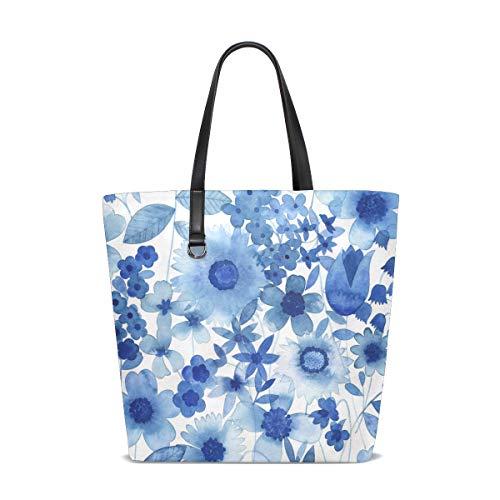 FANTAZIO Schultertasche für Damen, Delft Blue Floral Tote Bag