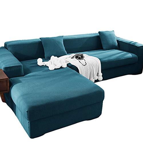 ABUKJM Sofabezug l Form ecksofa 2sitzer + 3sitzer,Sofaüberwurf ecksofa,All-Inclusive staubdicht Anti Haustier Haare,for Wohnzimmer beschützersofa Couch überwurf,Bluestone blau
