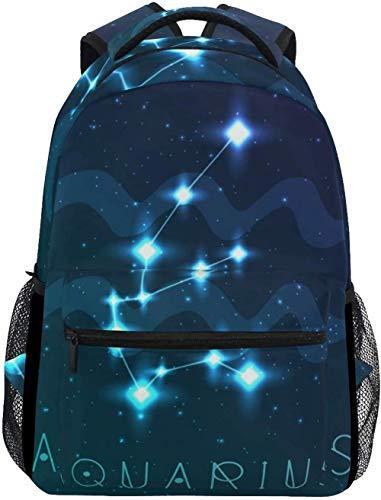Mochila Mochila Escolar Laptop Aquarius Astrology Stars Constellation Una Mochila Ligera Y Práctica para Adolescentes, Niños Y Niñas