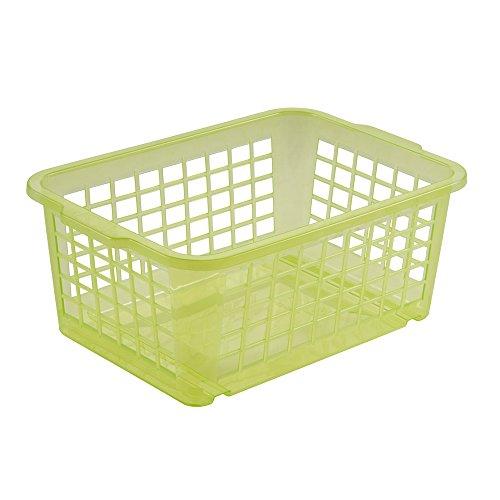 keeeper Panier de Rangement, Plastique Robuste (PP), 2,8 L, 25 x 17 x 10 cm, Fred, Vert Transparent