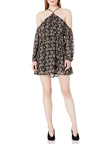Lucca Couture Women's Baxter Cold Shoulder Print Dress, Black Small Cluster Floral, X-Small