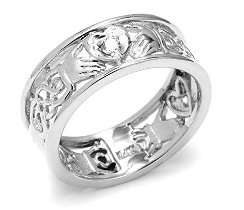 14k White Gold Diamond Claddagh Wedding Ring with Celtic Knot Band (7.25)