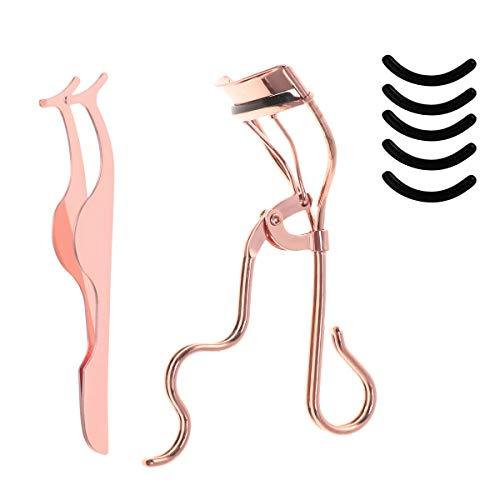 Lurrose Cils Maquillage Kits Cils Curler Eye Lashes Clip Curling Black Silicone Recharge Pads Set pour les filles