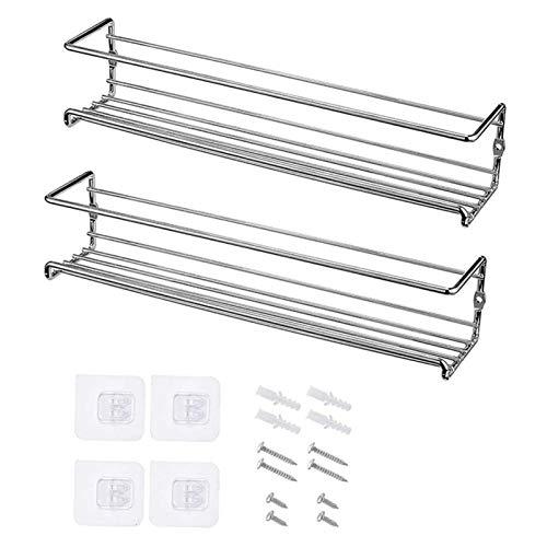 XUFAN Montaje en pared Organizador de estante de especias, 1/2 / paquete bastidores de colgantes de metal de metal en rack organizador de condimentos de soltero para puerta, armario, despensa especier