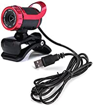 PAEW A859 HD Web Camera Rotatable USB Computer Camera 12MP Video Recording Webcam with Sound-absorbing Mic Clip-on Cam(red)