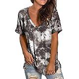 Camisas para mujer de verano más tamaño degradado color manga corta