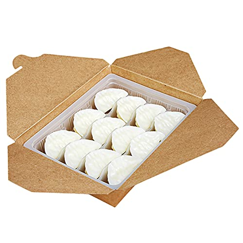 MHGLOVES Contenedores Desechables para Llevar, Envases Take Away Biodegradable Y Compostable, Caja De Papel A Prueba De Fugas Anti-Grasa para Almacenar Comida, 50 Piezas