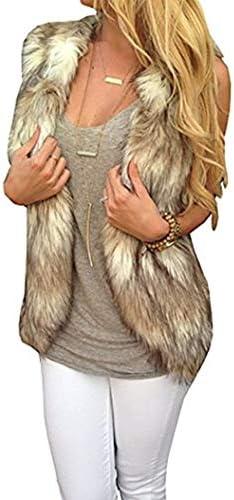 Dikoaina Fashion Women Sleeveless Front Open Warm Faux Fur Vests Coat Outwear XL product image