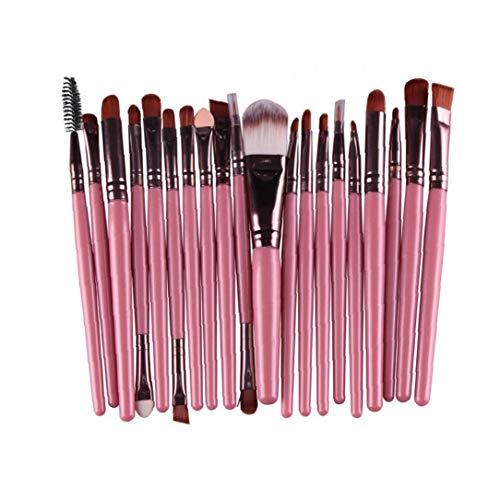 Herramientas del maquillaje 20PCS cosmético del cepillo del sistema de cepillo profesional Blender Fundación Polvo Brocha Pincel de labios de belleza Cuidado (rosa)