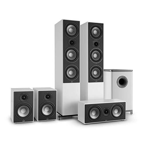 NUMAN Reference 851 Ambience Home Theatre 5.1 Sistema Audio Surround Soundsystem (Alloggiamento in MDF, bass reflex, 4 Ohm, potenza ciascun altoparlante 150 watt) Bianco