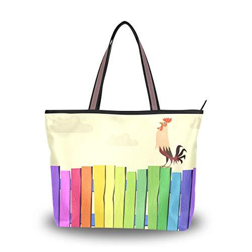Eslifey Bunte Zaun- und Hahnhahn-Damentasche, Handtaschen, Schultertaschen für Damen Mädchen Gr. 38, multi