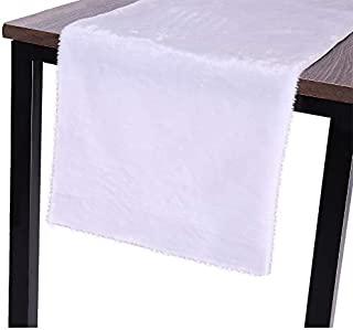 Sattiyrch Faux Fur Christmas Table Runner,White Table Decoration for Winter Holiday Xmas,15x70 Inch