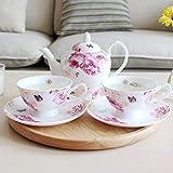 LOYWT Set de Taza de café de Regalo de cerámica Juego de café Juego de Taza de café de Porcelana de Hueso Europeo Juego Completo de Taza de té Rojo británico Juego de ollas-5 Piezas_Rosa
