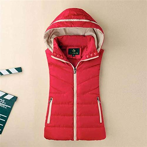 Daunenweste Frauen,Damen Casual Weste Kapuze Warm Rot Puffer Mantel Gepolsterte Weste Winter Daunen Oberbekleidung Für Outdoor-Aktivitäten, XL