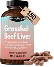 Beef Liver Capsules, 100% Grassfed New Zealand Dessicated Liver. Freeze-Dried and Undefatted. 180 Count, 45-Day Supply, Maximum Strength 3,000 Milligrams. Rich in Vitamins A and B12, Iron, Protein