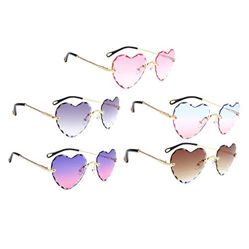 SM SunniMix 5 Piezas de Gafas de Sol en Forma de Corazón para Mujer, Lentes Teñidas, Montura Metálica, Gafas Anti UV