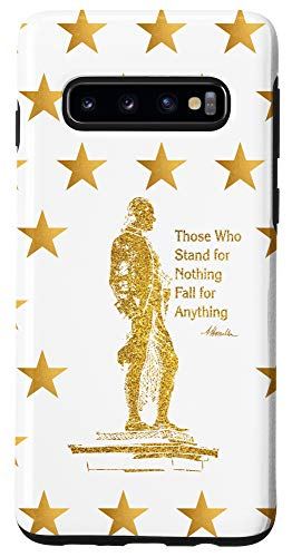Galaxy S10 Alexander Hamilton with Gold Silhouette and Quote Case
