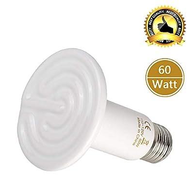 BOEESPAT Ceramic Heat Emitter 60W Reptile Ceramic Heat Lamp Brooder Coop Pet Infrared Ceramic Heat Lamp Bulb
