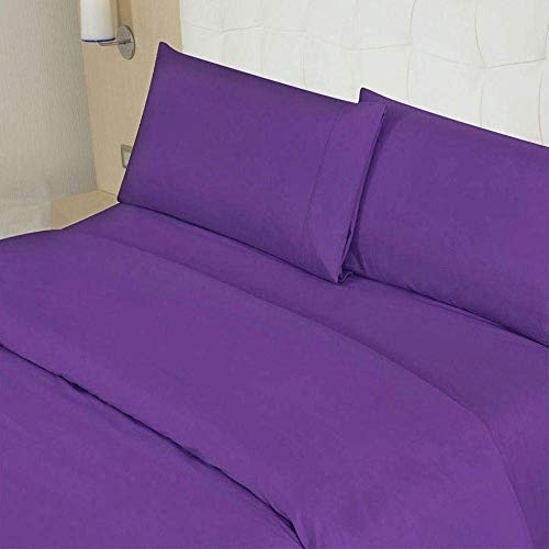 "500 Thread Count Sheet Set Solid Pattern Egyptian Cotton 5-Pieces Split Sheet Set for Adjustable Bed - Fits Mattress 19-21"" Inch Deep Pockets { Split-Queen } Purple Color"