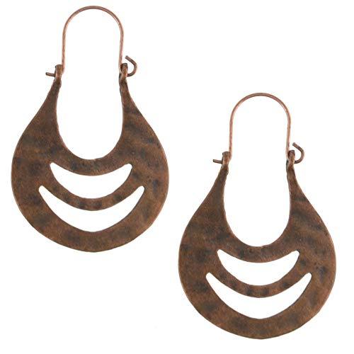 Nuevo estilo europeo y americano patrón de diseño simple bronce estilo étnico característico imitación turquesa exquisitos pendientes-A