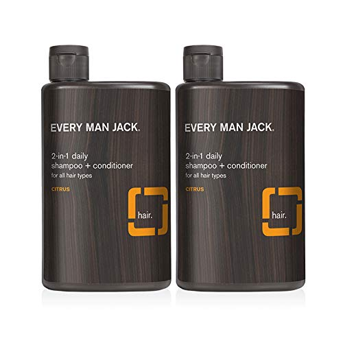 Every Man Jack 2-in-1 Daily Shampoo + Conditioner - Citrus | 13.5-ounce Twin Pack - 2 Bottles Included | Naturally Derived, Parabens-free, Pthalate-free, Dye-free, and Certified Cruelty Free