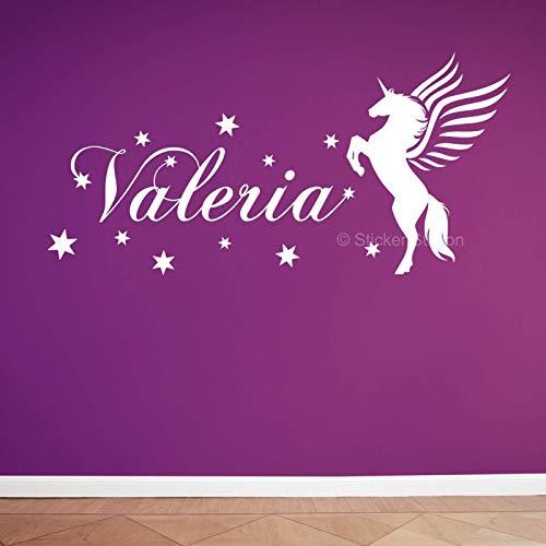 Caballo Unicornio y Estrellas Chicas Personalizado Nombre Mural Pegatina de Pared