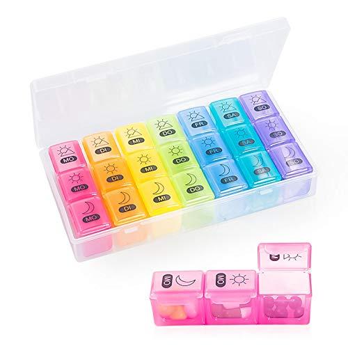 Tablettenbox 7 Tage 3 Fächer Deutsch, Baoweihua Medikamentenbox Morgens Mittags Abends für Eine Woche Pillendose