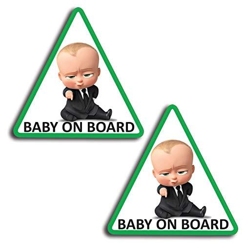 Biomar Labs® 2 x Adesivi Vinile Stickers Autoadesivi Decalcomania Bebè A Bordo Verde Baby On Board Boss Bambino Bimbo Safety Sign Car Sicurezza...