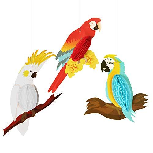 SUNBEAUTY Papier Papagei Dekoration Macaw Tier Tropische Vögel Hawaiian Summer Luau Party Garten Kinderzimmer Deko