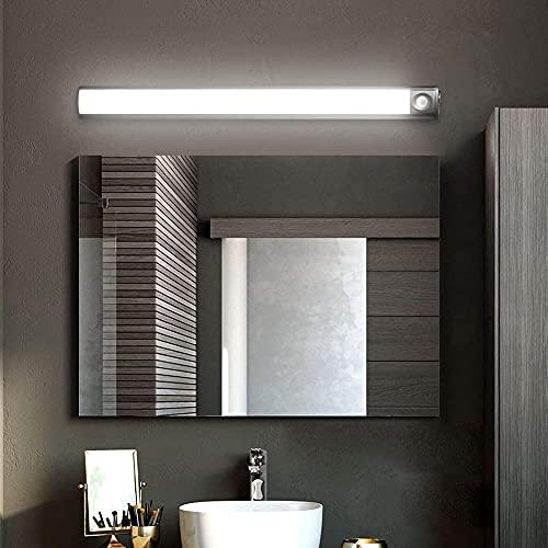 Lámpara LED moderna para espejo de baño con sensor de movimiento y carga USB, luz de maquillaje impermeable con interruptor, blanco cálido 3000K, para dormitorio, sala de estar, color plateado, 60 CM