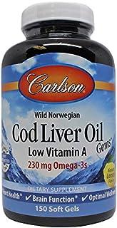 Carlson - Cod Liver Oil Gems, Low Vitamin A, Omega-3s EPA & DHA, Promotes Heart, Brain, Vision & Joint Health, Lemon, 150 ...