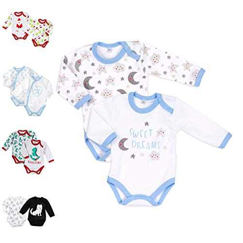 Baby Sweets 2er Baby-Set Langarm-Bodys für Jungen aus Baumwolle als Baby-Erstausstattung / Doppelpack Baby-Body im Mond-Sterne-Motiv in Hellblau für Neugeborene & Kleinkinder in Größe: 6 Monate (68)