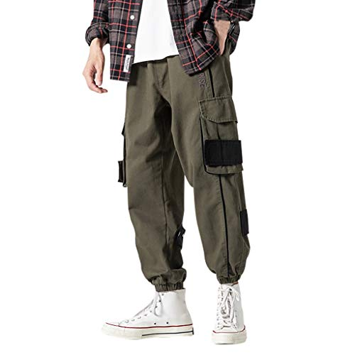 Pantalones de chándal para hombre con estilo, para primavera, verano, otoño Verde militar. XXXXXL