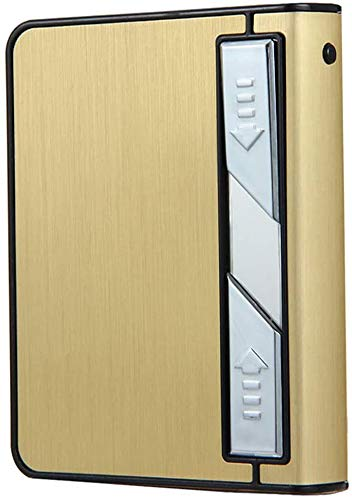 VIY Zigarettenetui mit Feuerzeug, Aluminium Zigarettenetui, USB Lighter, 2-in-1 Elektronisches Integriertem, Rechargeable, Windproof, Flameless, Für 10pcs Zigaretten
