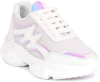 ZAPATOZ Women's White Solid Embellished Running, Walking Shoes