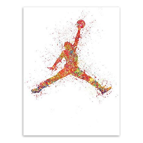 ZMPQ Aquarell Basketball Malerei Poster Abstrakte Sport Mann Wand Bild Leinwand Malerei Wohnzimmer Heimtextilien Z 50X70Cm