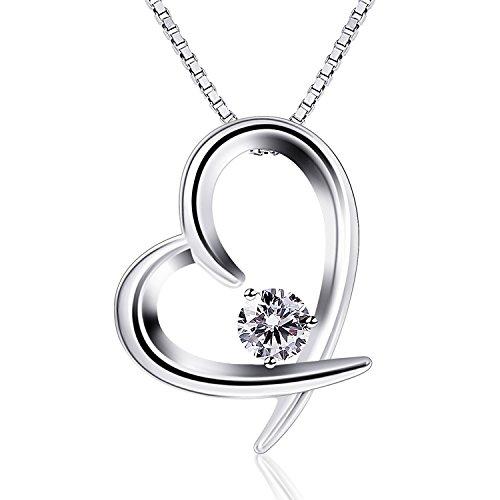 B.Catcher Collar Mujer 925 Plata de Ley corazón ''El Verdadero Amor''con para Regalo San Valentín Originales Cadena 45cm Longitud